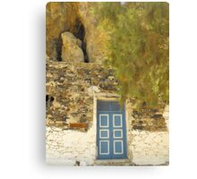 Greek house in the hill Canvas Print