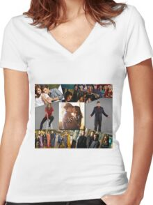 Castle Collage Women's Fitted V-Neck T-Shirt