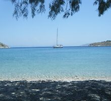 Patmos Island Beach and Sailboat by SlavicaB