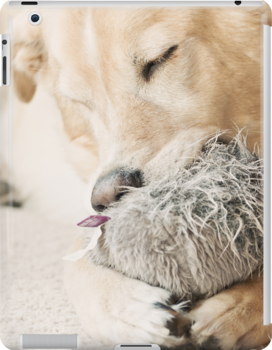 Dog Sleeping with Toy (iPad Case) by April Koehler