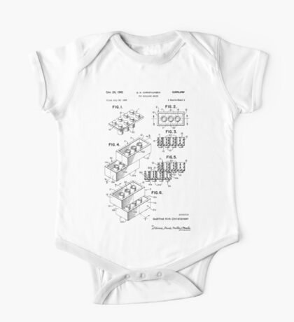 Toy Building Brick Patent  One Piece - Short Sleeve