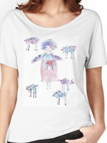 Romantic Angel with Lambs Women's Relaxed Fit T-Shirt