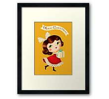Cute Vintage Christmas Girl Framed Print