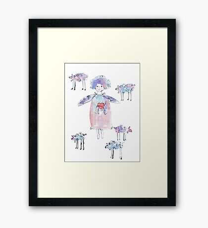 Romantic Angel with Lambs Framed Print