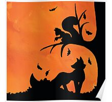 Woodland Shadows - Fox and Squirrel:Autumn Poster
