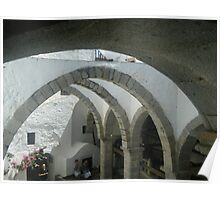 Patmos Island St John Monastery Arches Poster