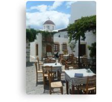 Outdoor restaurant on Greek Island Patmos  Canvas Print