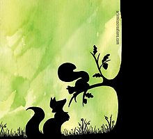 Woodland Shadows - Fox and Squirrel:Spring by artemissart