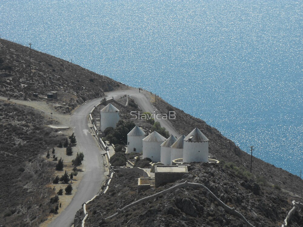 Patmos Greek Island Windmills #photography by SlavicaB