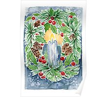 Pine and Holly Wreath Poster