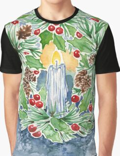 Pine and Holly Wreath Graphic T-Shirt