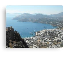 Patmos Greek Island harbor view #photography Canvas Print