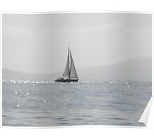 Greek Island sailboat in the mist #photography Poster