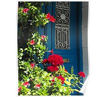 Greek Island Door and Flower #photography Poster