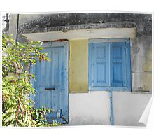 Greek Island blue house #photography Poster