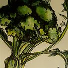 Broccoli. Pen and wash on Arches paper. Elizabeth Moore Golding 2012 by Elizabeth Moore Golding