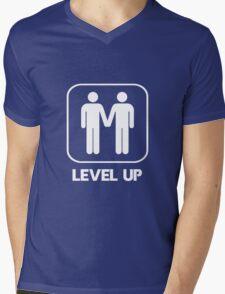 Level Up Guys White Mens V-Neck T-Shirt