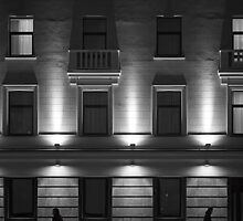 Illuminated Building with People by NeonAbstracts