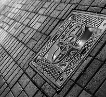 Ufa Drain Cover at Night by NeonAbstracts