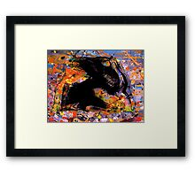 universe minute speck.... early fly by black evolving life form, behind a cosmic backdrop after JP  Framed Print