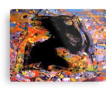 universe minute speck.... early fly by black evolving life form, behind a cosmic backdrop after JP  Metal Print