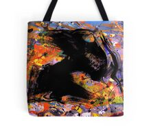 universe minute speck.... early fly by black evolving life form, behind a cosmic backdrop after JP  Tote Bag