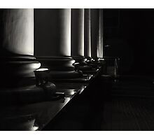 Night Silhouette on Rain Soaked Columns Black and White Photographic Print
