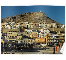 Greek Island harbor Poster