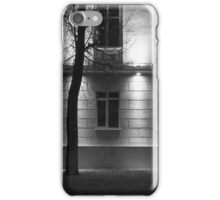 Two Trees at Night and the Bright Building in Monochrome iPhone Case/Skin
