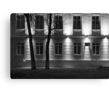 Two Trees at Night and the Bright Building in Monochrome Canvas Print