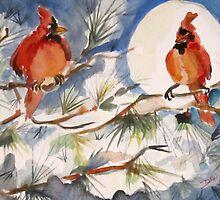 Winter Cardinals by artbydelilah