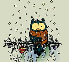 Owl in the snow v2 by mangulica