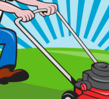 Lawn Mower Man Gardener Cartoon  Sticker