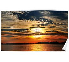 Colorful River Sunset Poster
