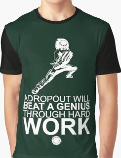 Rock Lee - A Dropout Will Beat A Genius Through Hard Work - White Graphic T-Shirt