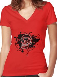 Red Glow Skull Women's Fitted V-Neck T-Shirt