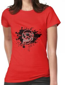 Red Glow Skull Womens Fitted T-Shirt