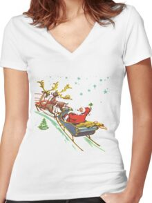 santa claus christmas Women's Fitted V-Neck T-Shirt