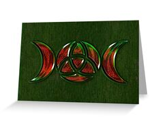 Triple Moon Goddess Symbol with Trinity Knot Greeting Card