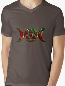 Triple Moon Goddess Symbol with Trinity Knot Mens V-Neck T-Shirt
