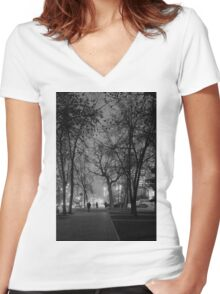 City at Nght Monochrome Black and White Women's Fitted V-Neck T-Shirt