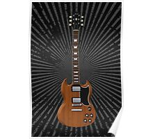 Electric Guitar with Wood Finish Poster