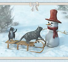 Two Cats and a Snowman by Roberta Angiolani