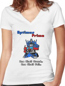 Optimus Prime - One Shall Stand.. Women's Fitted V-Neck T-Shirt