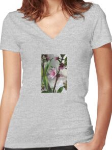 Pink Peach Blossom Women's Fitted V-Neck T-Shirt