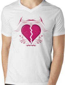 Broken Heart & Tribal Graphics Mens V-Neck T-Shirt