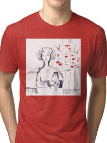 Romantic Christmas Angel with Kitten Tri-blend T-Shirt