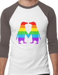 Rainbow penguins in love. Men's Baseball ¾ T-Shirt