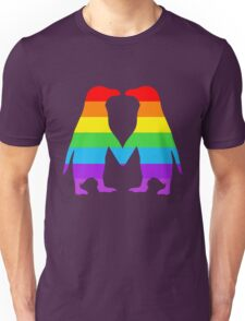 Rainbow penguins in love. Unisex T-Shirt