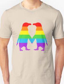 Rainbow penguins in love. Unisex T-Shirt